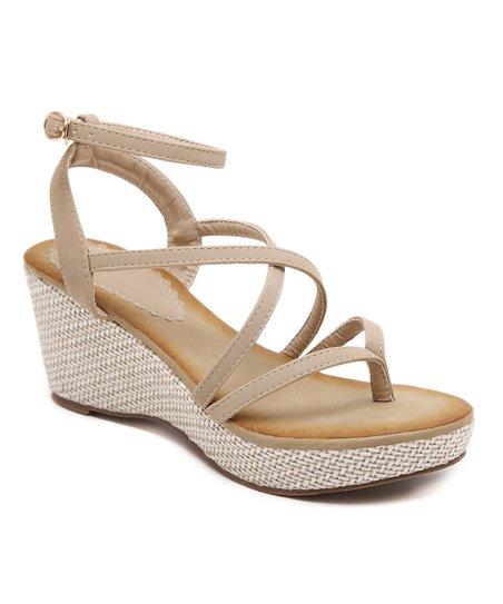 f96ad1a7199 Siketu Beige Strappy Wedge Sandal - Women