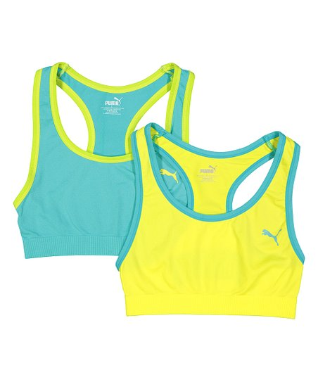 Puma Green Yellow Sports Bra Set Girls Best Price And Reviews Zulily