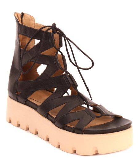 8a7628a3b317 Parione Black Lace-Up Leather Platform Gladiator Sandal - Women