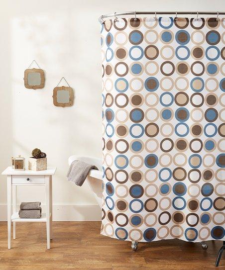 Brown Blue Bacova Shower Curtain