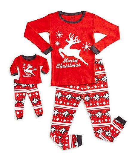 Toddler Christmas Pajamas.Dinodee Red Merry Christmas Pajama Set Doll Outfit Toddler Girls