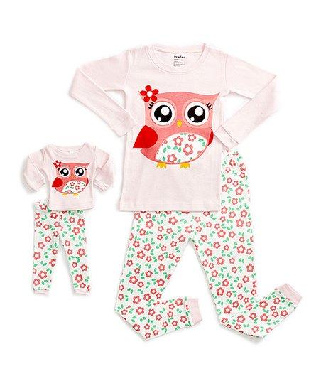 30c6dfbcf2cd DinoDee Pink   White Owl Pajama Set   Doll Outfit - Toddler   Girls ...