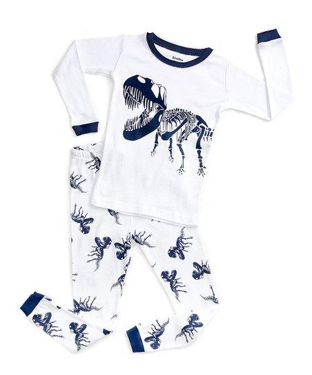 371f190d9 DinoDee White   Blue Dinosaur Pajama Set - Toddler   Kids