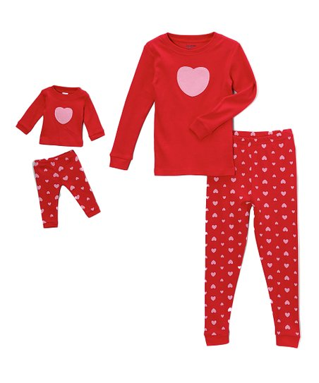 2815c91418bd Leveret Red   Pink Heart Pajama Set   Doll Outfit - Toddler   Girls ...