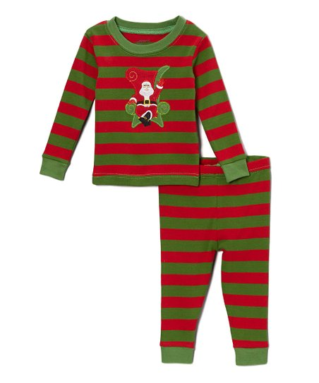 85424970f Leveret Red   Green Stripe Santa Pajama Set - Infant