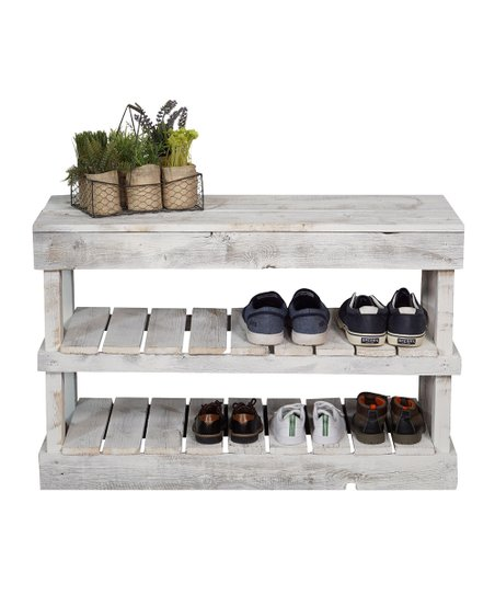 Delhutson Designs White Pine Wood Shoe Rack Bench Zulily