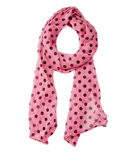 d3eba1671c20 Modadorn Hot Pink   Black Polka Dot Scarf