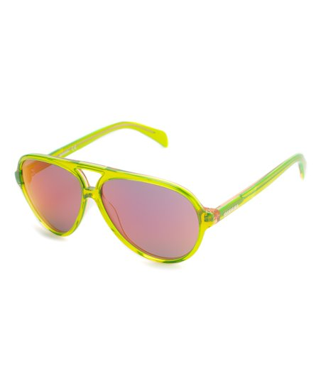 55530599018d love this product Green Fluorescent   Burgundy Mirror Aviator Sunglasses -  Unisex