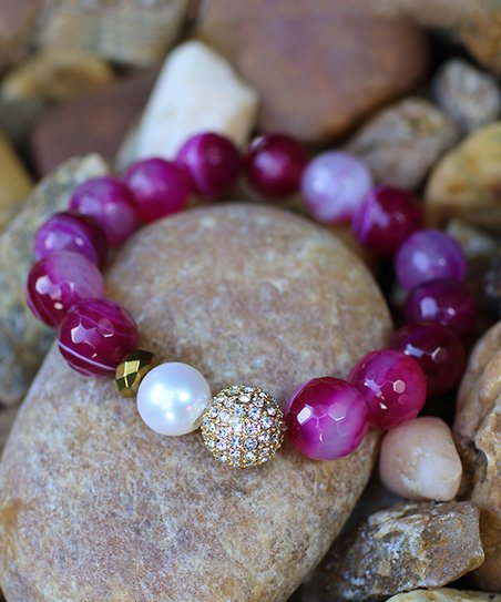 Devoted Jewelry Pink Agate & Pearl Beaded Stretch Bracelet