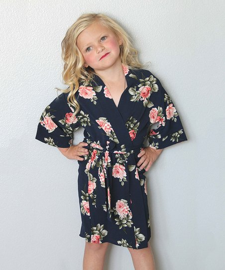 Coveted Clothing Navy   Pink Floral Robe - Toddler   Girls  deb02f221