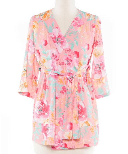 Coveted Clothing Pink   Yellow Floral Robe - Girls  29216d85a
