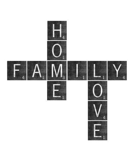 The Sign Shoppe Black White Family Home Love Scrabble Tile Wall