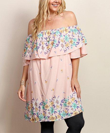 c3cdf220cec8 love this product Pink Floral Off-Shoulder Dress - Plus