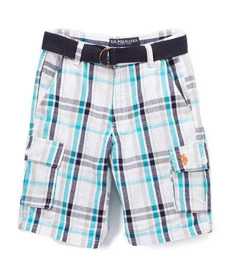 5afe823fe6 U.S. Polo Assn. Aqua   White Plaid Belted Cargo Shorts - Boys