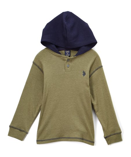 4e0bc5a65 U.S. Polo Assn. Heather Olive Green Henley Hoodie - Toddler   Boys ...