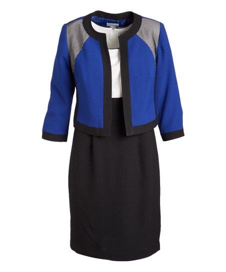 Nicolette Royal Blue Black Sleeveless Dress Three Quarter Sleeve