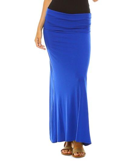 06eee4093e Isaac Liev Royal Fold-Over Maxi Skirt | Zulily