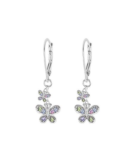 most fashionable Super discount elegant shape Chanteur Designs Sterling Silver Butterfly Earrings With Swarovski® Crystals