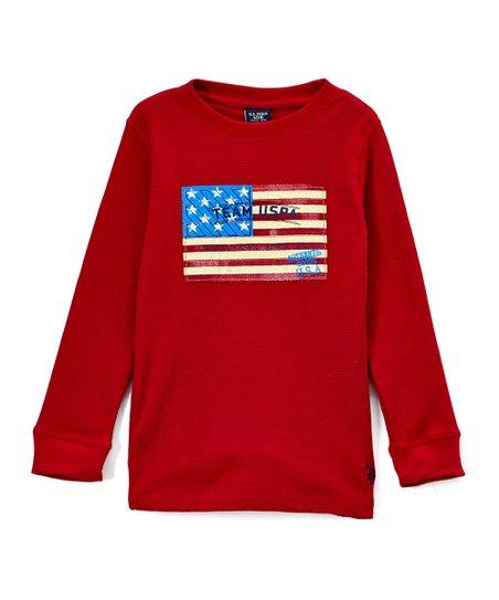fd6c9e5e U.S. Polo Assn. Cinnamon Flag Graphic Long-Sleeve Crewneck Top ...