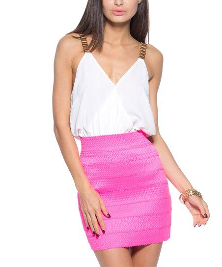 Forever Lily Pink Contrast Split Back Chain Strap Sleeveless Dress