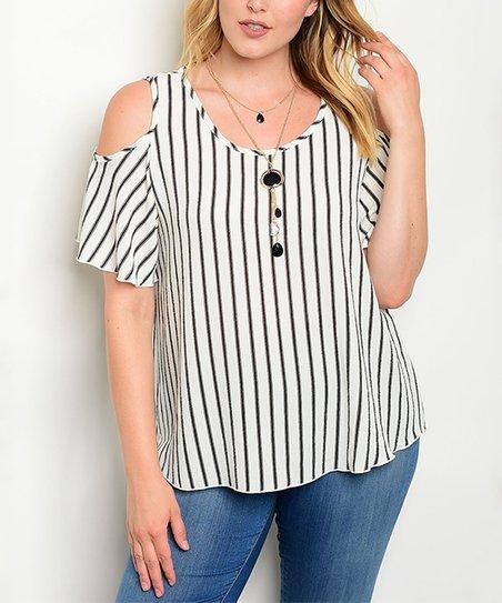 d0f10c4fdf37a love this product Ivory   Black Stripe Shoulder Cut-Out Top - Plus