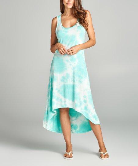 78136a666050 love this product Mint & White Tie-Dye Hi-Low Midi Dress