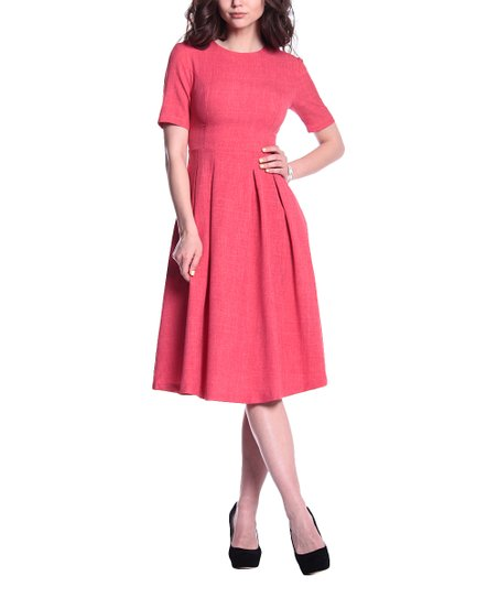 c2cb0fcde52c love this product Red Coral Linen-Blend Short-Sleeve Fit & Flare Dress -  Women