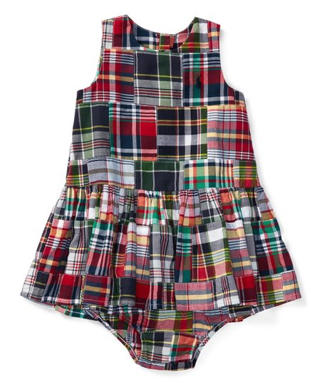25345ba60 love this product Blue & Red Madras Patchwork Dress & Diaper Cover - Infant