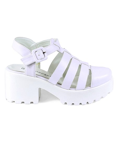 e065b987622c love this product White Strappy Closed-Toe Platform Sandal