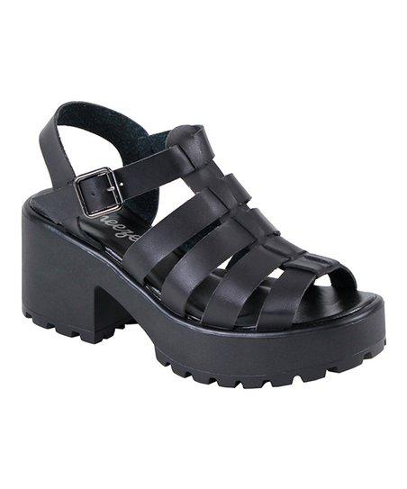 05b5f3fa011 Reneeze Black Strappy Open-Toe Platform Sandal