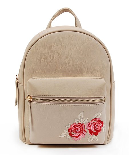 OMG! Accessories Bone Embroidered Floral Mini Backpack