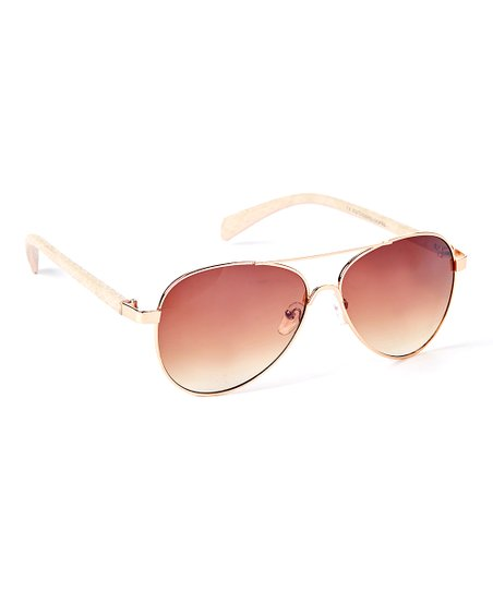 649f230318c70 love this product Rose Gold   White Frame   Brown Aviator Sunglasses
