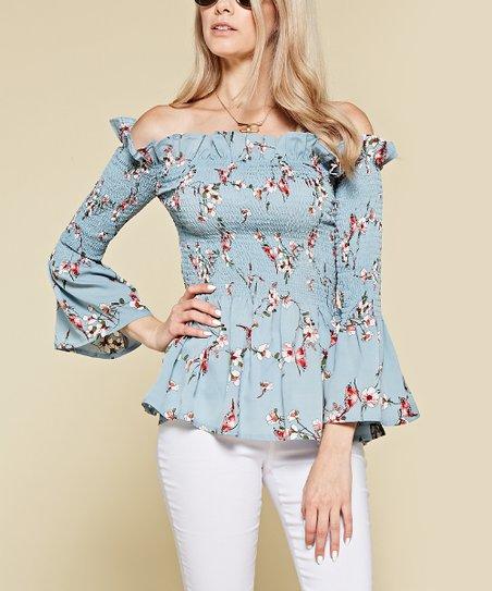 07defee98cc09 Chloah Blue Floral Bell-Sleeve Off-Shoulder Top