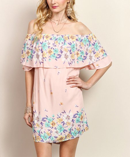 0a69a8304fb3 love this product Pink   Purple Floral Off-Shoulder Dress - Women