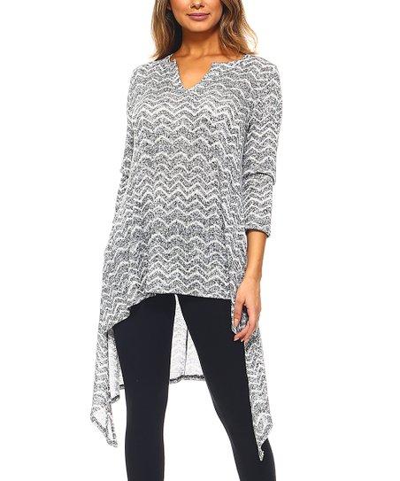 96b884d93f2 A La Tzarina Heather Gray Zigzag Side-Slit Hi-Low Sweater Dress ...