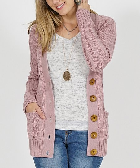 love this product Mauve Cable-Knit Large-Button Cardigan - Women 40d3c5abf