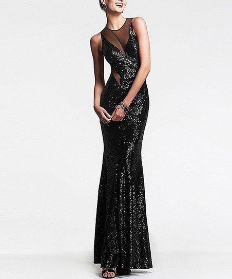 7376c19bf86 LAKLOOK Black Glitter Sheer-Panel Maxi Dress
