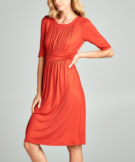 4974ec7b91fb Spicy Mix Brick Ruched Empire-Waist Dress - Women | Zulily