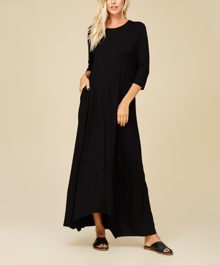 85fed15b8776 Annabelle USA Black Three-Quarter Sleeve Maxi Dress - Women | Zulily