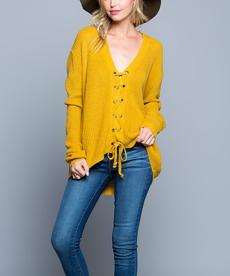 526498a933e love this product Mustard Lace-Up Sweater - Women