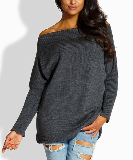 e8cb5e33ee9 Envy Me Dark Gray Off-Shoulder Sweater