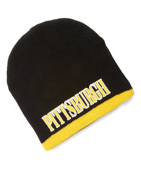 love this product Black   Gold  Pittsburgh  Reversible Knit Hat 7283c18070cf