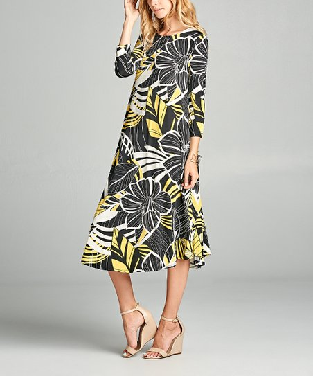 e2b405a9af6 love this product Black   Yellow Floral Midi Dress - Women