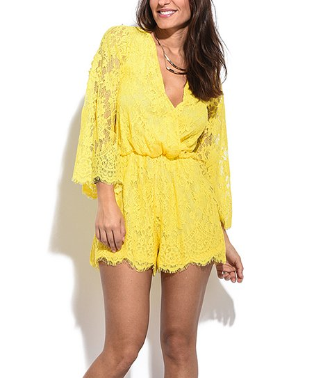 edc9c4509554 love this product Yellow Lace Long-Sleeve Surplice Romper - Women