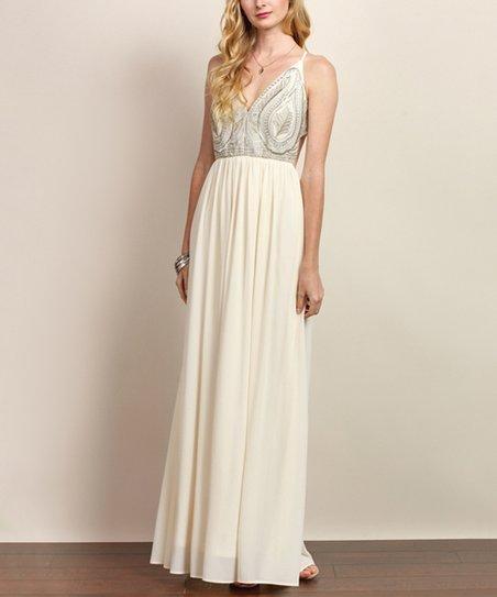 d84dca8651c7 Soiéblu Ivory Embroidered V-Neck Maxi Dress | Zulily