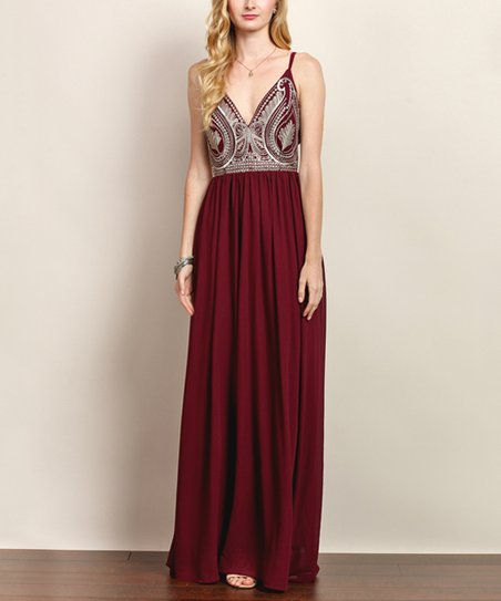 da365714f6d8 love this product Wine Embroidered V-Neck Maxi Dress