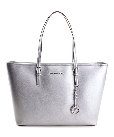 83825d189486c6 Michael Kors Silver Jet Set Travel Leather Tote | Zulily