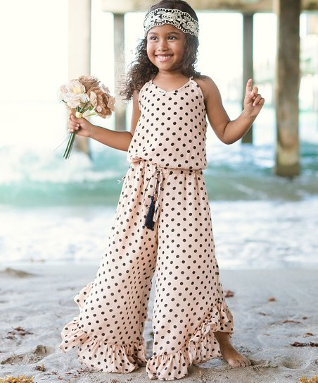 2c56f760059 love this product Sand   Black Polka Dot Ruffle-Hem Jumpsuit - Toddler    Girls