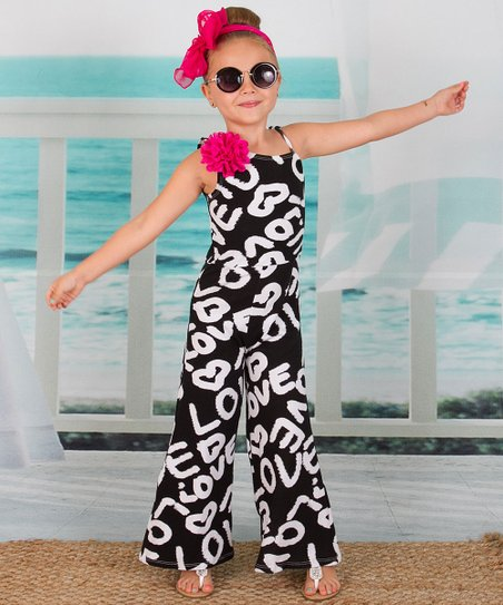 2079b9e75708 love this product Black   White  Love  Flower-Accent Jumpsuit - Toddler    Girls