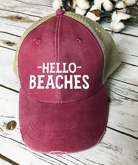 love this product Nautical Red  Hello Beaches  Trucker Hat 0c1a08148a5